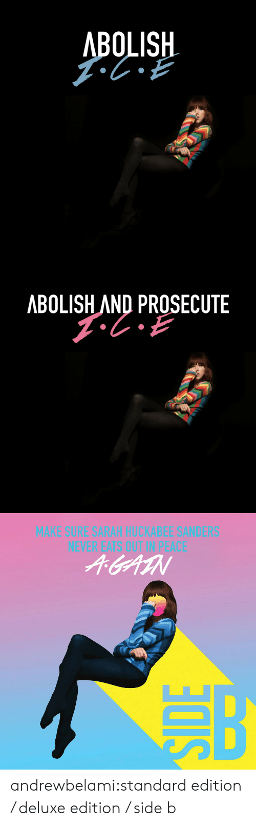 Side B: BOLISH  0   ABOLISH AND PROSECUTE   MAKE SURE SARAH HUCKABEE SANDERS  NEVER EATS OUT IN PEACE  个entN andrewbelami:standard edition / deluxe edition / side b