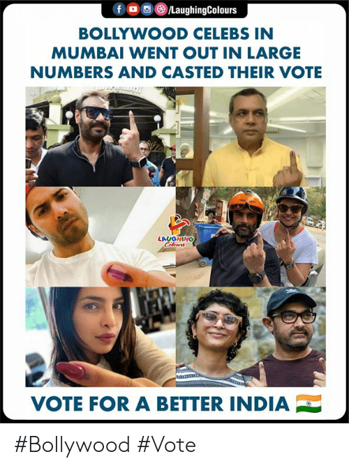 Bollywood: BOLLYWOOD CELEBS IN  MUMBAI WENT OUT IN LARGE  NUMBERS AND CASTED THEIR VOTE  LAUGHING  VOTE FOR A BETTER INDIA #Bollywood #Vote