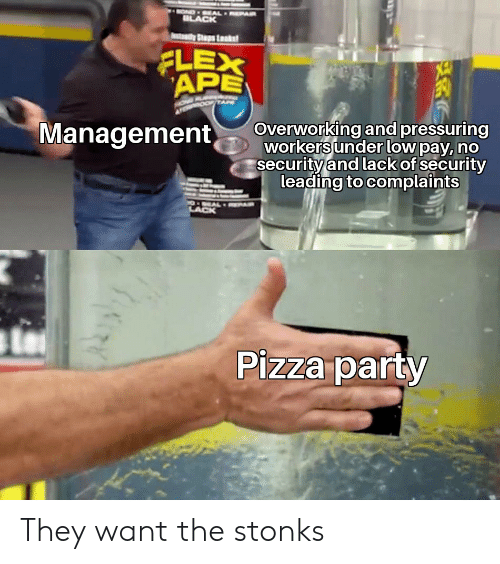 Flexing, Party, and Pizza: BOND EAL EPAIR  ILACK  tay Ss Lsk  FLEX  APE  Management  Overworking and pressuring  workers under low pay, no  security and lack of security  leading to complaints  OEAL AR  LACK  Pizza party They want the stonks