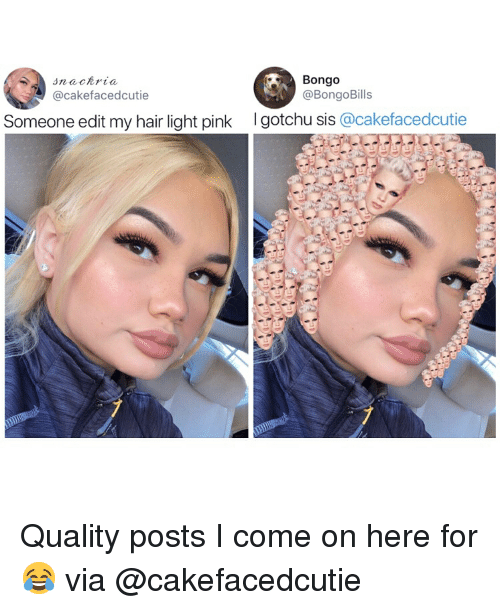 Gotchu: Bongo  @BongoBills  @cakefacedcutie  Someone edit my hair light pink  I gotchu sis @cakefacedcutie Quality posts I come on here for 😂 via @cakefacedcutie