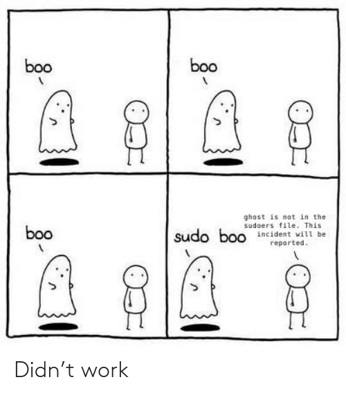 File: boo  boo  ghost is not in the  sudoers file. This  incident will be  boo  sudo boo  reported. Didn't work