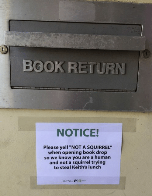 "Dank, Book, and Squirrel: BOOK RETURN  NOTICE!  Please yell ""NOT A SQUIRREL""  when opening book drop  so we know you are a human  and not a squirrel trying  to steal Keith's lunch"