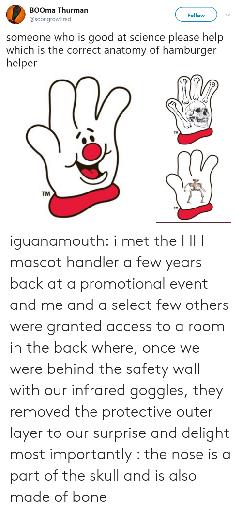 Hamburger Helper, Tumblr, and Access: BOOma Thurman  @soongrowtired  Follow  someone who is good at science please help  which is the correct anatomy of hamburger  helper  TM  TM  TM iguanamouth: i met the HH mascot handler a few years back at a promotional event and me and a select few others were granted access to a room in the back where, once we were behind the safety wall with our infrared goggles, they removed the protective outer layer to our surprise and delight most importantly : the nose is a part of the skull and is also made of bone