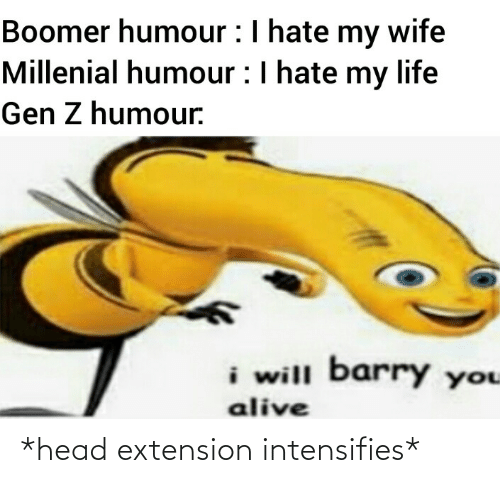 my life: Boomer humour :I hate my wife  Millenial humour :I hate my life  Gen Z humour.  i will barry you  alive *head extension intensifies*