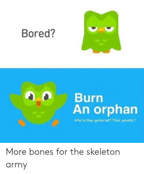 Bones, Bored, and Parents: Bored?  Burn  An orphan  Who're they gonna tell? Their parents? More bones for the skeleton army