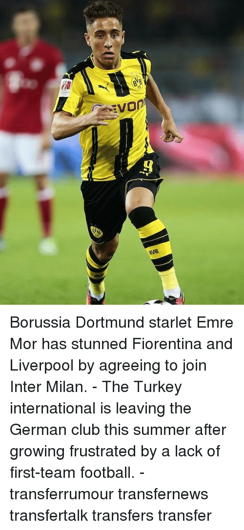 germane: Borussia Dortmund starlet Emre Mor has stunned Fiorentina and Liverpool by agreeing to join Inter Milan. - The Turkey international is leaving the German club this summer after growing frustrated by a lack of first-team football. - transferrumour transfernews transfertalk transfers transfer