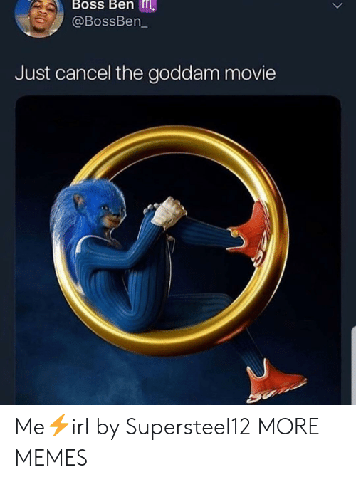 Dank, Memes, and Target: Boss Ben  @BossBen  Just cancel the goddam movie Me⚡irl by Supersteel12 MORE MEMES