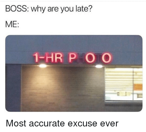 Boss, Why, and You: BOSS: why are you late?  ME:  1-HR P O O Most accurate excuse ever