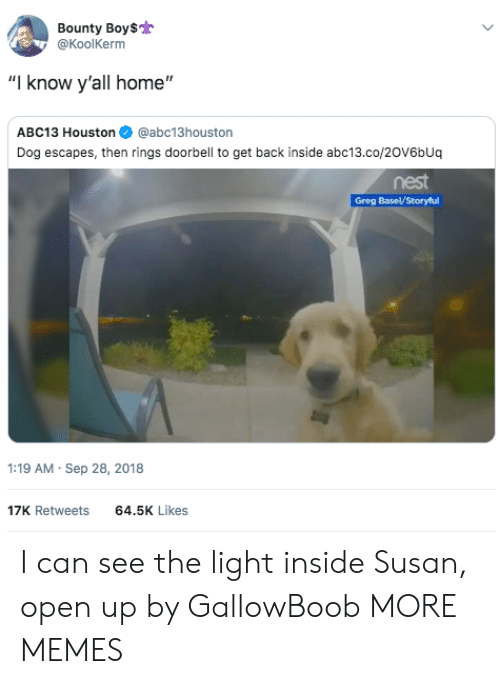 """bounty: Bounty Boy$  @KoolKerm  """"I know y'all home""""  ABC13 Houston@abc13houston  Dog escapes, then rings doorbell to get back inside abc13.co/20V6bUq  nest  :19 AM Sep 28, 2018  17K Retweets  64.5K Likes I can see the light inside Susan, open up by GallowBoob MORE MEMES"""