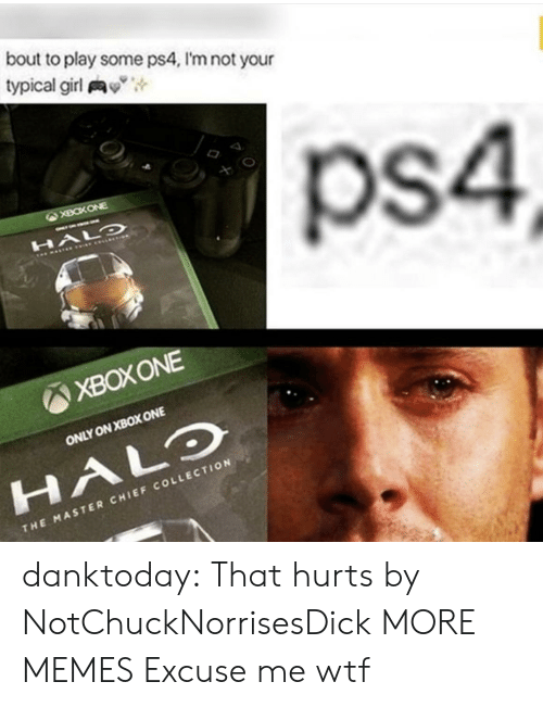 "That Hurts: bout to play some ps4, I'm not your  typical girl y"",  ps4  XBOXONE  ONLY ON XBOX ONE  HALO  CHI  THE MASTER CHIEF COLLECTION danktoday:  That hurts by NotChuckNorrisesDick MORE MEMES  Excuse me wtf"