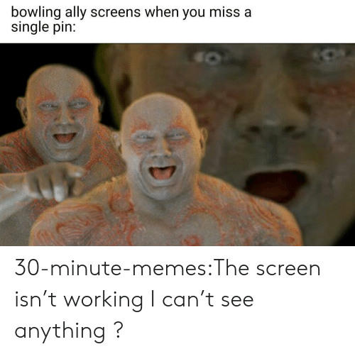 can't see: bowling ally screens when you miss a  single pin: 30-minute-memes:The screen isn't working I can't see anything ?