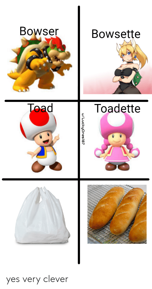 Bowser, Yes, and Toad: Bowser  Bowsette  Toad  Toadette  u/Luckyones87 yes very clever