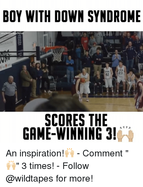 """Down Syndrom: BOY WITH DOWN SYNDROME  SCORES THE  GAME WINNING 3!  A A An inspiration!🙌🏼 - Comment """"🙌🏼"""" 3 times! - Follow @wildtapes for more!"""