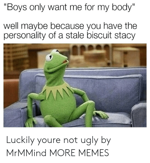 """Maybe Because: """"Boys only want me for my body""""  well maybe because you have the  personality of a stale biscuit stacy Luckily youre not ugly by MrMMind MORE MEMES"""
