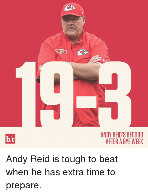 Bye Week: br  ANDY REID'S RECORD  AFTER A BYE WEEK Andy Reid is tough to beat when he has extra time to prepare.