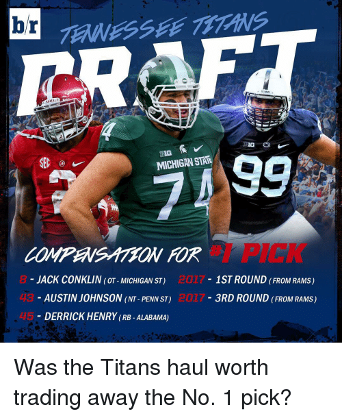 Derrick Henry: br  BAMA  BIG O  MICHIGAN STAR  JACK CONKLIN (OT-MICHIGAN ST)  1ST ROUND FROM RAMs)  AUSTIN JOHNSON (NT-PENN ST)  3RD ROUND FROM RAMs)  DERRICK HENRY (RB ALABAMA) Was the Titans haul worth trading away the No. 1 pick?