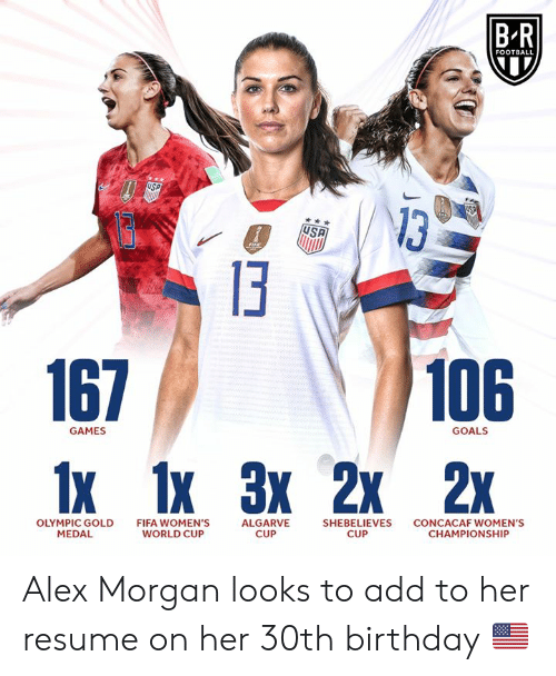 Medal: BR  FOOTBALL  USP  USP  13  106  167  1x 1x 3х 2х 2x  GOALS  GAMES  OLYMPIC GOLD  MEDAL  FIFA WOMEN'S  WORLD CUP  ALGARVE  CUP  CONCACAF WOMEN'S  CHAMPIONSHIP  SHEBELIEVES  CUP Alex Morgan looks to add to her resume on her 30th birthday 🇺🇸