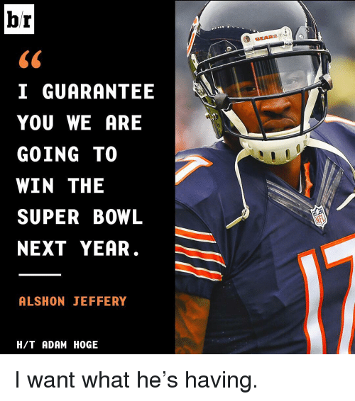 Sports, Super Bowl, and Alshon Jeffery: br  I GUARANTEE  YOU WE ARE  GOING TO  WIN THE  SUPER BOWL  NEXT YEAR  ALSHON JEFFERY  H/T ADAM HOGE  BEARS I want what he's having.