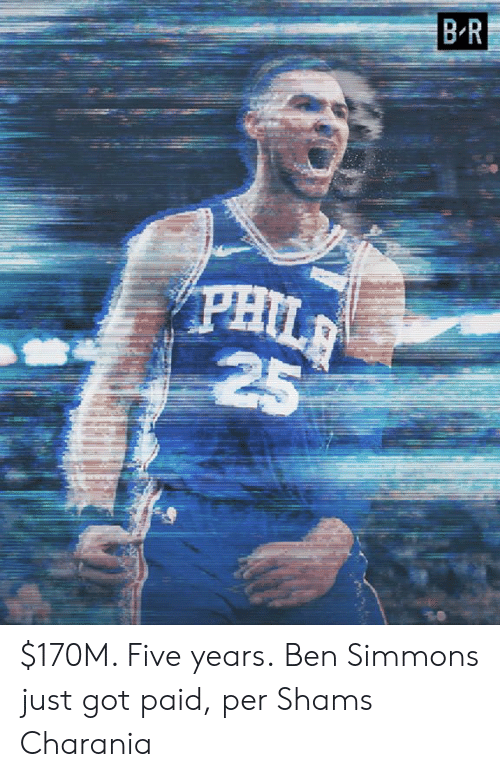 Got, Five, and Just: BR  PHIL  25 $170M. Five years.  Ben Simmons just got paid, per Shams Charania