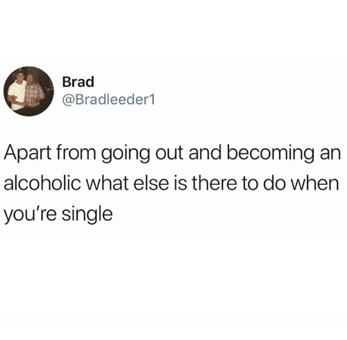 Alcoholic, Humans of Tumblr, and Single: Brad  @Bradleeder1  Apart from going out and becoming an  alcoholic what else is there to do when  you're single