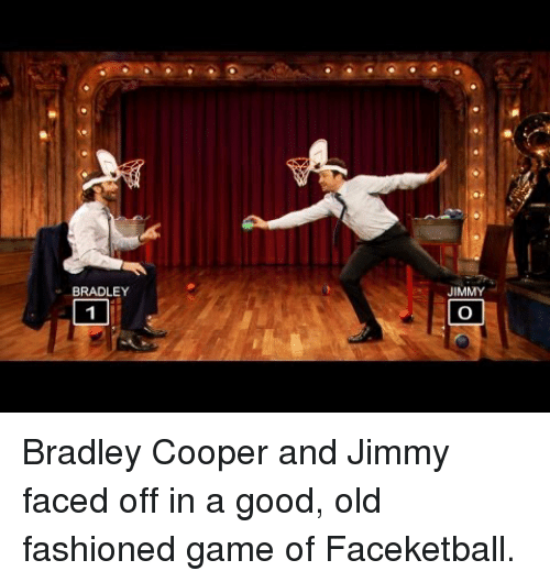 Bradley Cooper: BRADLEY  JIMMY <p>Bradley Cooper and Jimmy faced off in a good, old fashioned game of Faceketball.</p>