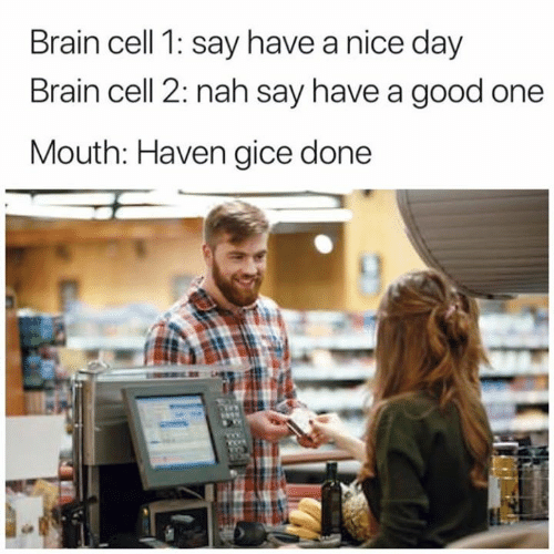 Good One: Brain cell 1: say have a nice day  Brain cell 2: nah say have a good one  Mouth: Haven gice done
