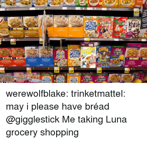 Shopping, Target, and Tumblr: bran  2400  Min FROZT  25.00  isin  ran  .89  .39  .99  aisin  ran  ran werewolfblake:  trinketmattel:  may i please have bréad  @gigglestick Me taking Luna grocery shopping