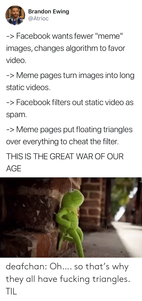 """Video Meme: Brandon Ewing  @Atrioc  -Facebook wants fewer """"meme""""  images, changes algorithm to favor  video  Meme pages turn images into long  static videos  -Facebook filters out static video as  spam  -Meme pages put floating triangles  over everything to cheat the filter.  THIS IS THE GREAT WAR OF OUR  AGE deafchan: Oh…. so that's why they all have fucking triangles. TIL"""