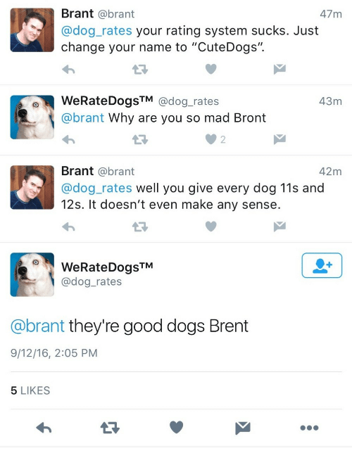 """Dog Rates: Brant @brant  @dog_rates your rating system sucks. Just  change your name to """"CuteDogs"""".  47 m  WeRateDogsTM @dog_rates  @brant Why are you so mad Bront  43m  2  Brant @brant  @dog_rates well you give every dog 11s and  12s. It doesn't even make any sense  42m  WeRateDogsTM  @dog_rates  @brant they're good dogs Brent  9/12/16, 2:05 PM  5 LIKES"""