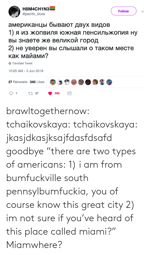 "south: brawltogethernow: tchaikovskaya:  tchaikovskaya: jkasjdkasjksajfdasfdsafd goodbye ""there are two types of americans: 1) i am from bumfuckville south pennsylbumfuckia, you of course know this great city 2) im not sure if you've heard of this place called miami?""  Miamwhere?"