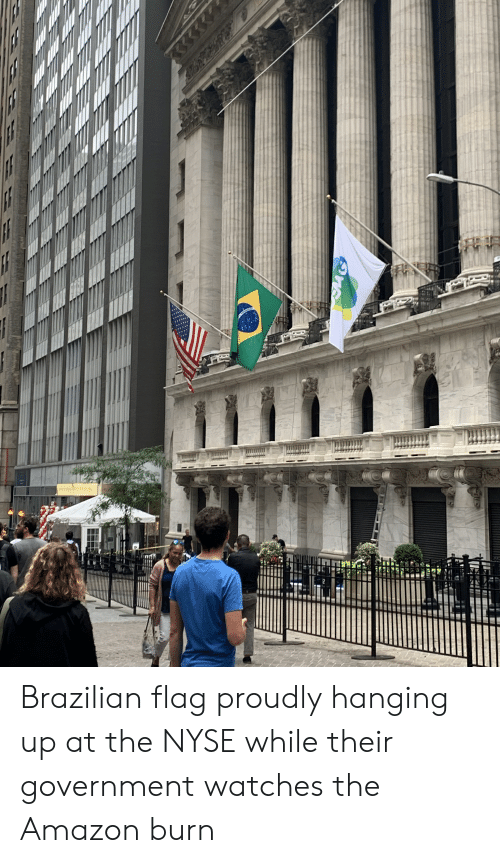 Nyse: Brazilian flag proudly hanging up at the NYSE while their government watches the Amazon burn