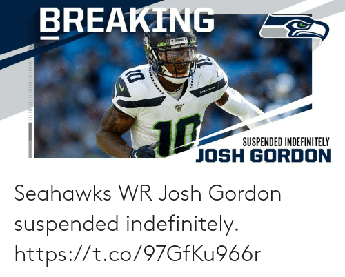 Gordon: BREAKING  • SENES  SEAHAWKS  10  SUSPENDED INDEFINITELY  JOSH GORDON Seahawks WR Josh Gordon suspended indefinitely. https://t.co/97GfKu966r