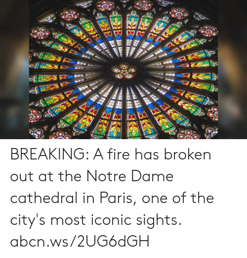 Sights: BREAKING: A fire has broken out at the Notre Dame cathedral in Paris, one of the city's most iconic sights. abcn.ws/2UG6dGH