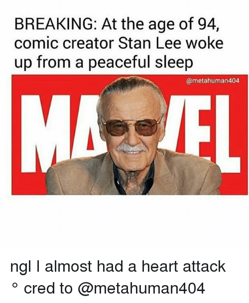 Stanning: BREAKING: At the age of 94,  comic creator Stan Lee woke  up from a peaceful sleep  @metahuman404 ngl I almost had a heart attack ° 《cred to @metahuman404 》