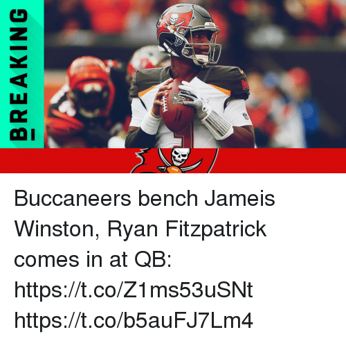 Fitzpatrick: BREAKING Buccaneers bench Jameis Winston, Ryan Fitzpatrick comes in at QB: https://t.co/Z1ms53uSNt https://t.co/b5auFJ7Lm4