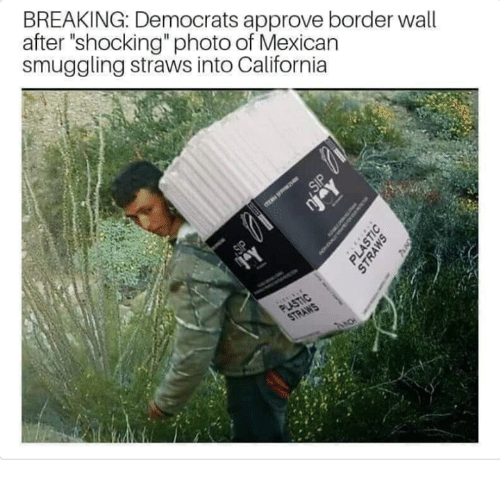 """California, Conservative, and Mexican: BREAKING: Democrats approve border wall  after """"shocking"""" photo of Mexican  smuggling straws into California"""