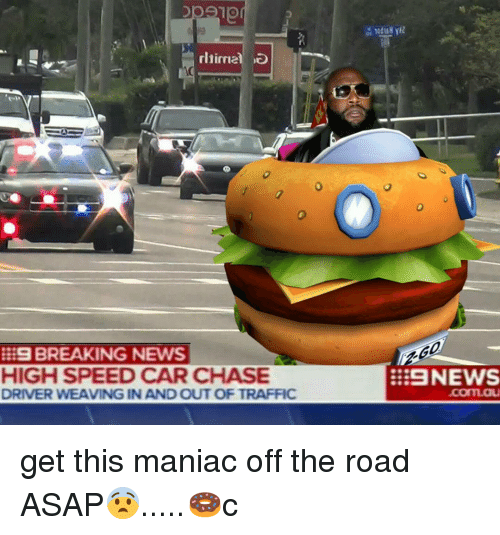 Traffic News: BREAKING NEWS  HIGH SPEED CAR CHASE  DRIVER WEAVING IN AND OUT OF TRAFFIC  NEWS get this maniac off the road ASAP😨.....🍩c