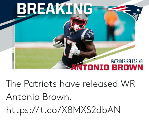 Memes, Patriotic, and Antonio Brown: BREAKING  PATERAGTS  PATRIOTS RELEASING  AN The Patriots have released WR Antonio Brown. https://t.co/X8MXS2dbAN