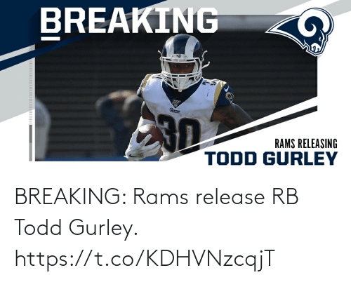 Rams: BREAKING: Rams release RB Todd Gurley. https://t.co/KDHVNzcqjT