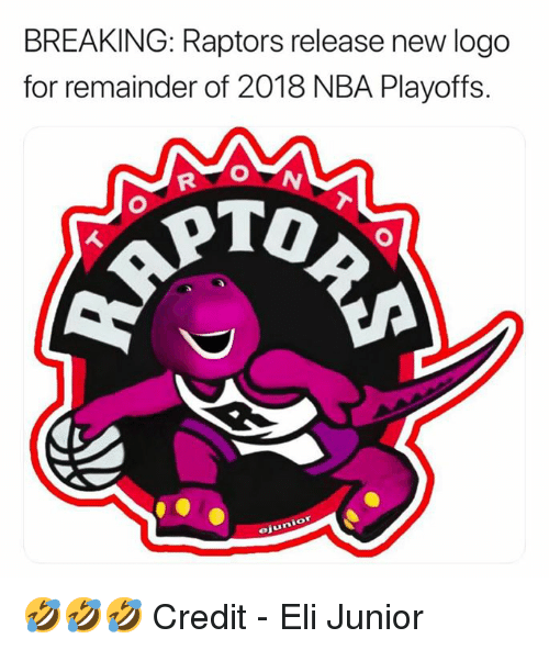 Nba, Nba Playoffs, and Logo: BREAKING: Raptors release new logo  for remainder of 2018 NBA Playoffs.  ejunior 🤣🤣🤣  Credit - Eli Junior