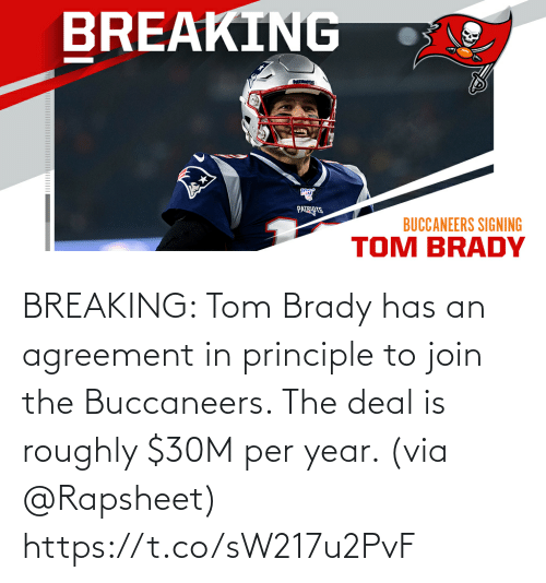 tom: BREAKING: Tom Brady has an agreement in principle to join the Buccaneers. The deal is roughly $30M per year. (via @Rapsheet) https://t.co/sW217u2PvF