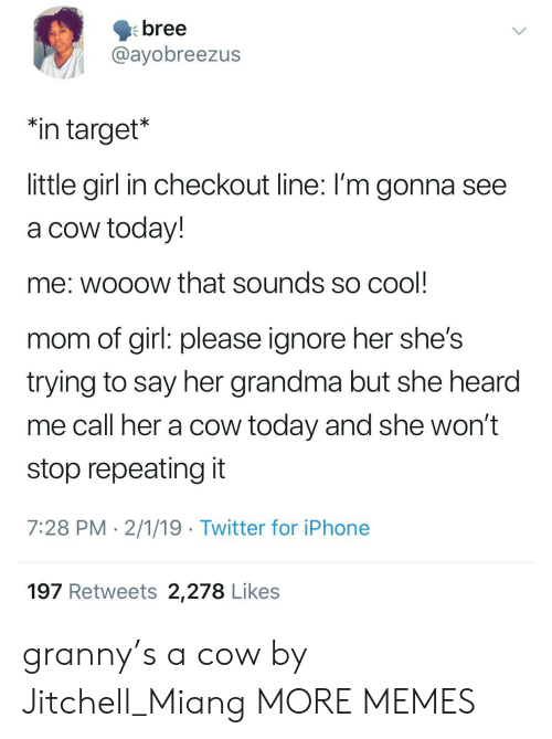 """girl please: bree  @ayobreezus  """"in target*  little girl in checkout line: I'm gonna see  a cow today!  me: wooow that sounds so cool  mom of girl: please ignore her she's  trying to say her grandma but she hearod  me call her a cow today and she won't  stop repeating it  7:28 PM 2/1/19 Twitter for iPhone  197 Retweets 2,278 Likes granny's a cow by Jitchell_Miang MORE MEMES"""