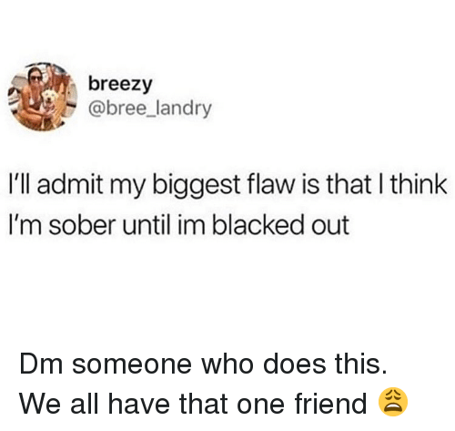 We All Have That One Friend: breezy  @bree landry  I'll admit my biggest flaw is that l think  I'm sober until im blacked out Dm someone who does this. We all have that one friend 😩