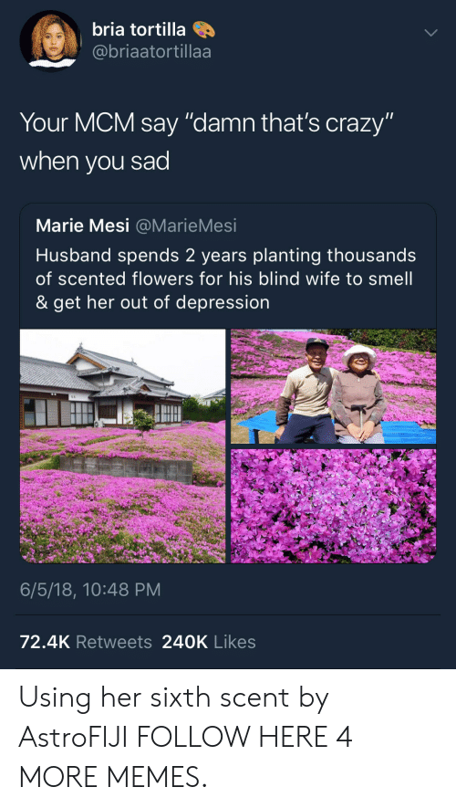 """mcm: bria tortilla  @@briaatortillaa  Your MCM say """"damn that's crazy""""  when you sad  Marie Mesi @MarieMesi  Husband spends 2 years planting thousands  of scented flowers for his blind wife to smell  & get her out of depression  6/5/18, 10:48 PM  72.4K Retweets 240K Likes Using her sixth scent by AstroFIJI FOLLOW HERE 4 MORE MEMES."""