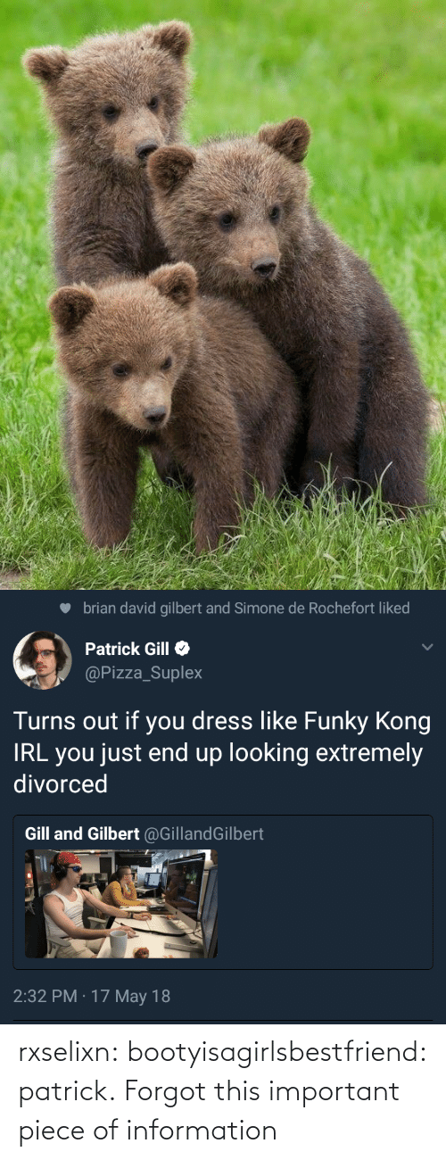 Information: brian david gilbert and Simone de Rochefort liked  Patrick Gill  @Pizza_Suplex  Turns out if you dress like Funky Kong  IRL you just end up looking extremely  divorced  Gill and Gilbert @GillandGilbert  2:32 PM · 17 May 18 rxselixn:  bootyisagirlsbestfriend:  patrick.  Forgot this important piece of information