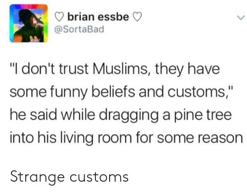 """Dont Trust: brian ess  @SortaBad  beCV  """"I don't trust Muslims, they have  some funny beliefs and customs,""""  he said while dragging a pine tree  into his living room for some reason Strange customs"""