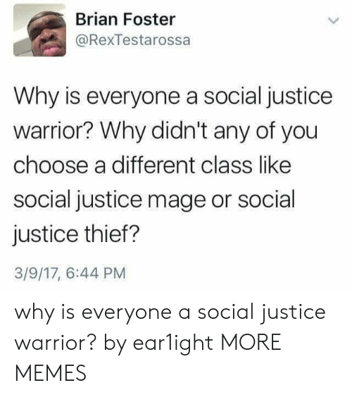 Dank, Memes, and Target: Brian Foster  @RexTestarossa  Why is everyone a social justice  warrior? Why didn't any of you  choose a different class like  social justice mage or social  justice thief?  3/9/17, 6:44 PM why is everyone a social justice warrior? by ear1ight MORE MEMES