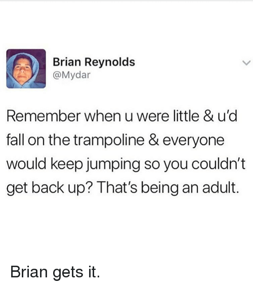 Being an Adult, Fall, and Memes: Brian Reynolds  @Mydar  Remember when u were little & u'd  fall on the trampoline & everyone  would keep jumping so you couldn't  get back up? That's being an adult. Brian gets it.