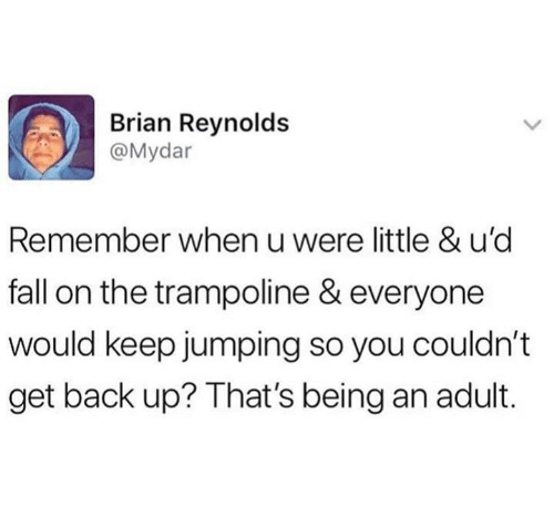 Being an Adult, Dank, and Fall: Brian Reynolds  @Mydar  Remember when u were little & u'd  fall on the trampoline & everyone  would keep jumping so you couldn't  get back up? That's being an adult.