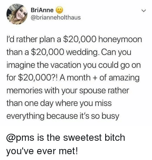 Bitch, Honeymoon, and Memes: BriAnne (  @brianneholthaus  I'd rather plan a $20,000 honeymoon  than a $20,000 wedding. Can you  imagine the vacation you could go on  for $20,000?! A month +of amazing  memories with your spouse rather  than one day where you miss  everything because it's so busy @pms is the sweetest bitch you've ever met!